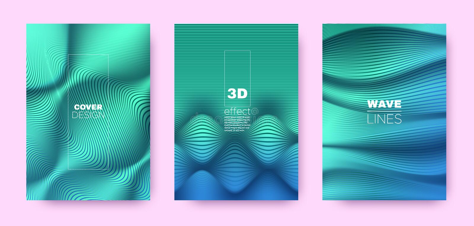 Teal Flow Poster. Design Covers Set. Movement. Vibrant Lines. 3d Geometric Background. Flow Vibrant Lines. Business Covers Set. Green Vector Poster. Mint Flow vector illustration