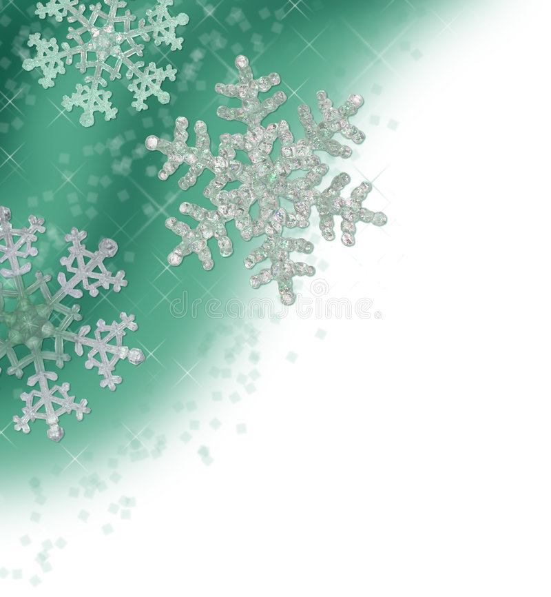 Teal Green Snowflake Border