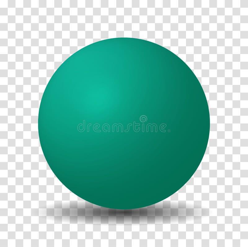 Teal Green Sphere Ball illustrazione di stock
