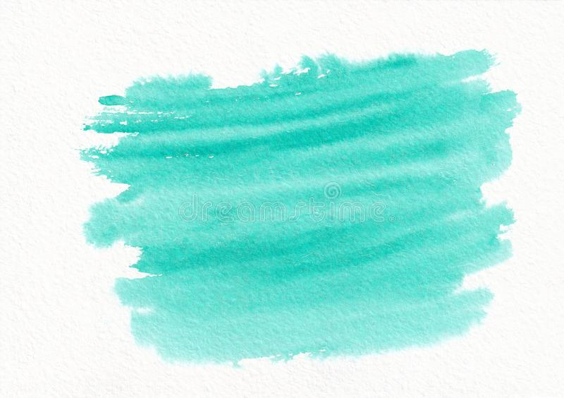 Teal horizontal watercolor gradient hand drawn background. royalty free illustration