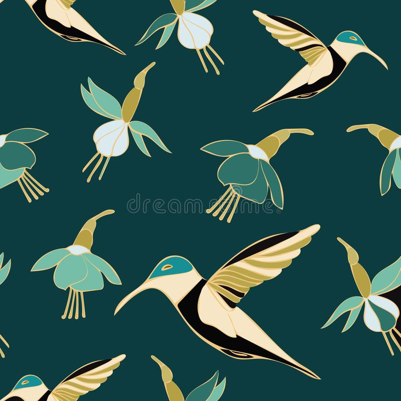 Teal Hummingbird Floral Seamless Repeat modellvektor vektor illustrationer