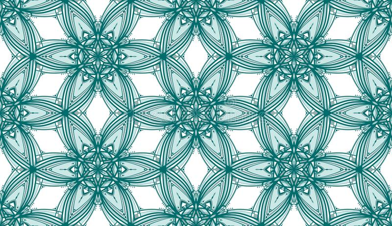 Teal Kaleidoscope Flowers - Tileable modell arkivfoto