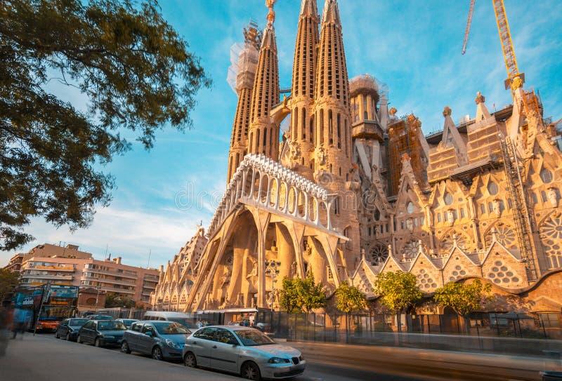 Teal and orange mood of Sagrada Familia catholic church in Barcelona, Catalonia. Teal and orange mood of Passion facade of Sagrada Familia catholic church, work stock image