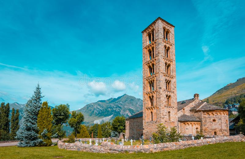 Teal and orange view of Belfry and church of Sant Climent de Taull, Catalonia, Spain. Romanesque style. Belfry and church of Sant Climent de Taull, Catalonia stock photos