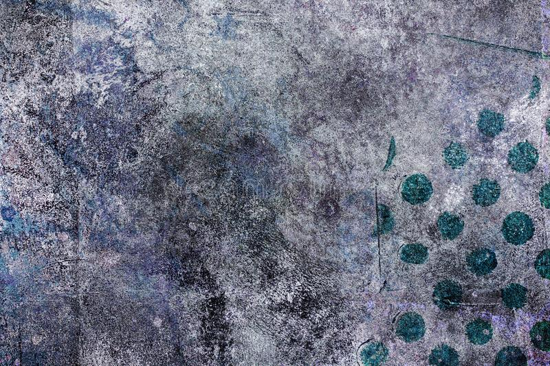Teal Polkadots on a Grunge Abstract Background stock photo