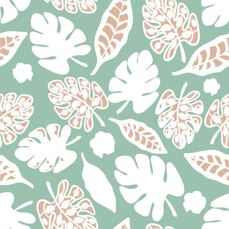 Teal Print Tropical Floral Pattern-Achtergrondvector stock illustratie