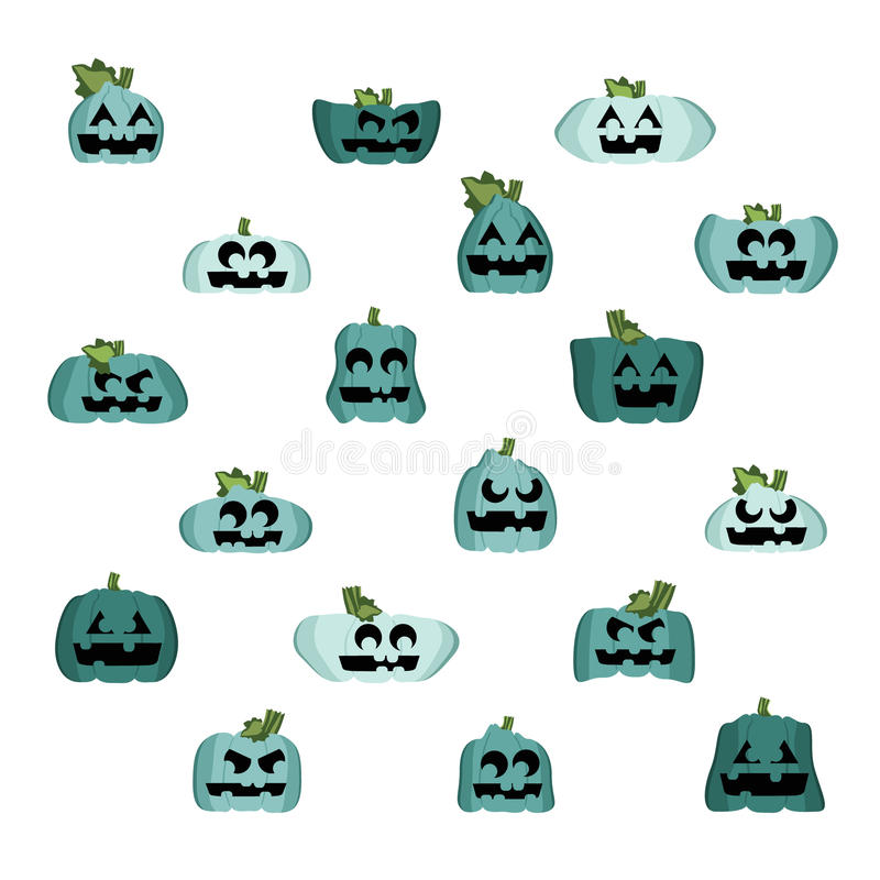 Teal pumpkins and squashes stock image