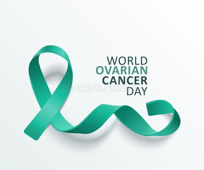 Teal Ribbon Banner For World Ovarian Cancer Day On White Background Stock Vector Illustration Of Background Banner 160837401