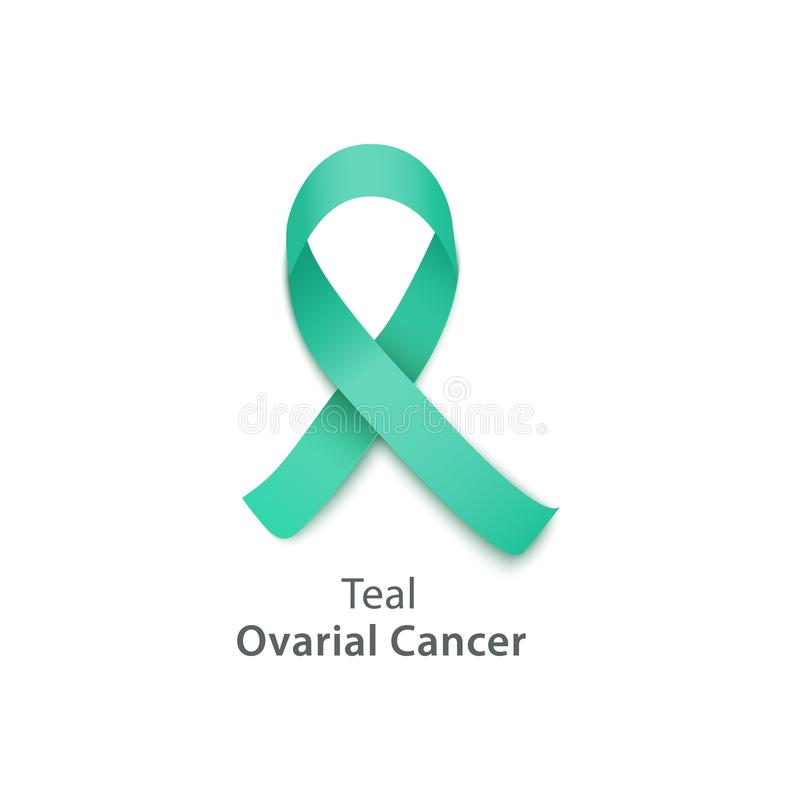 Teal ribbon for ovarian cancer awareness day. Hope symbol for health and support for survivors and victims - isolated icon on white background, vector stock illustration