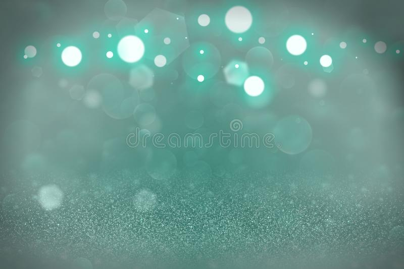 Teal, sea-green beautiful brilliant glitter lights defocused bokeh abstract background, festal mockup texture with blank space for vector illustration