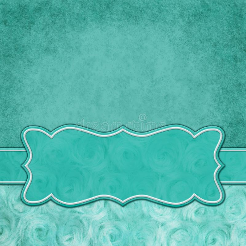 Teal square border with rose plush fabric with copy space. Teal with square border with rose plush fabric with copy space for your message and a banner stock illustration