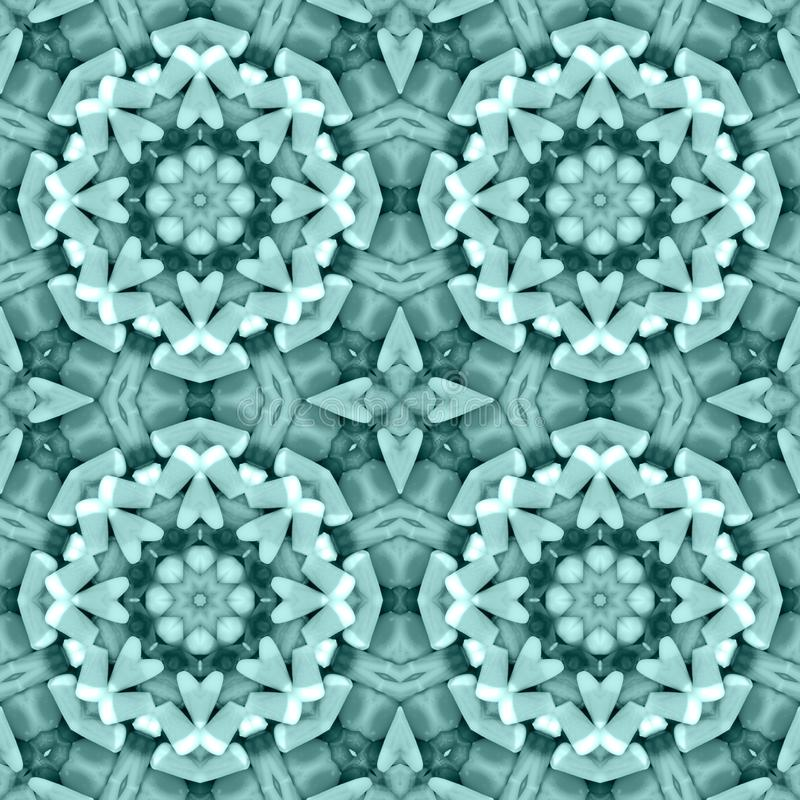 Teal triangle mosaic detailed seamless textured pattern background royalty free stock photography