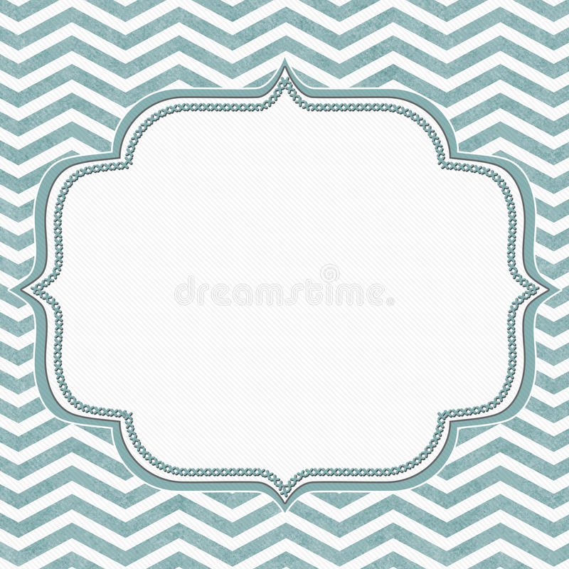 Teal and White Chevron Frame with Embroidery Background royalty free illustration