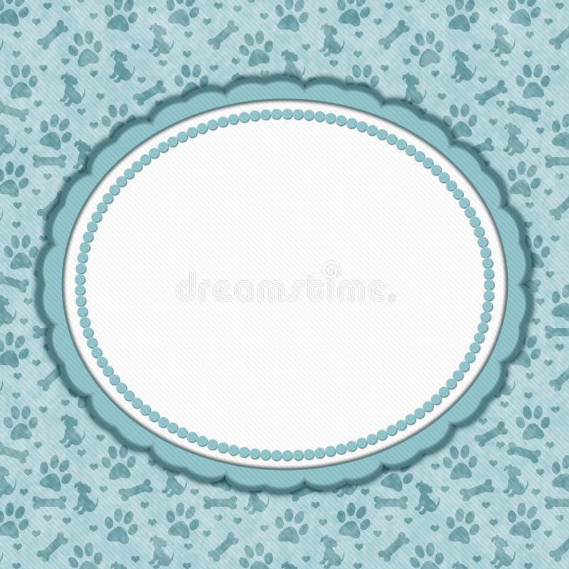 Teal and white dog pattern oval border with copy space. Teal and white dog pattern with oval border with copy space for your message royalty free illustration