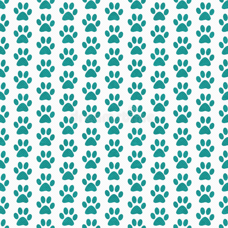 Teal and White Dog Paw Prints Tile Pattern Repeat Background vector illustration