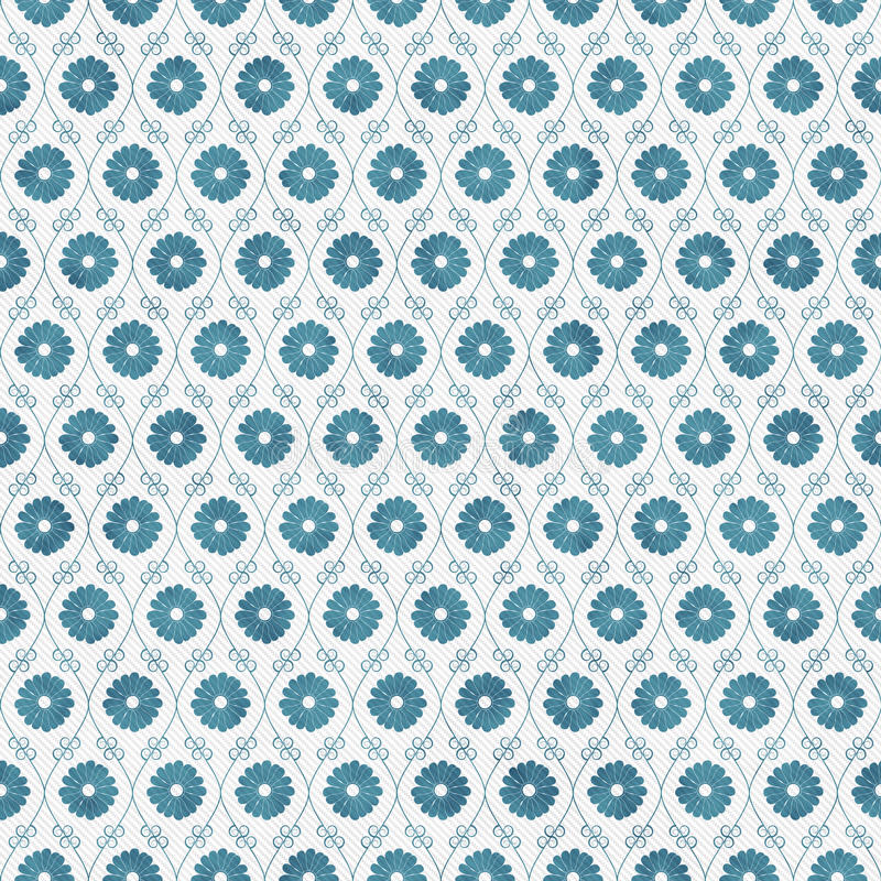 Teal and White Flower Repeat Pattern Background royalty free stock images