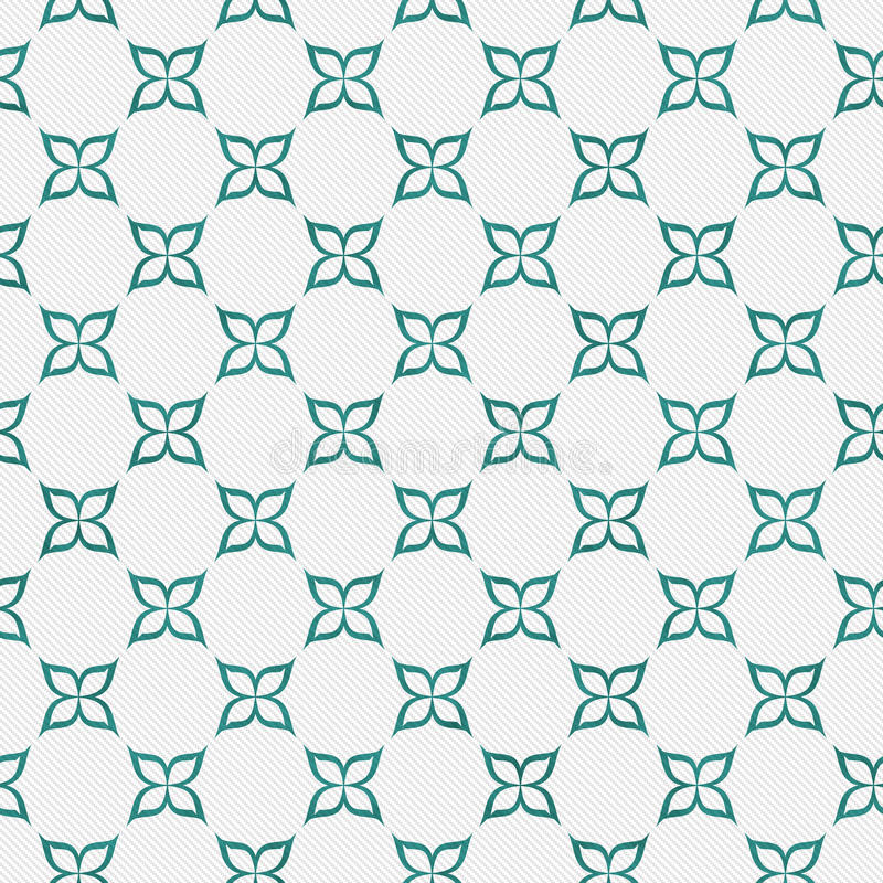 Teal and White Flower Repeat Pattern Background royalty free illustration