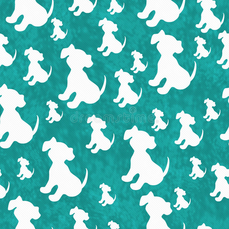 Teal and White Puppy Dog Tile Pattern Repeat Background stock illustration