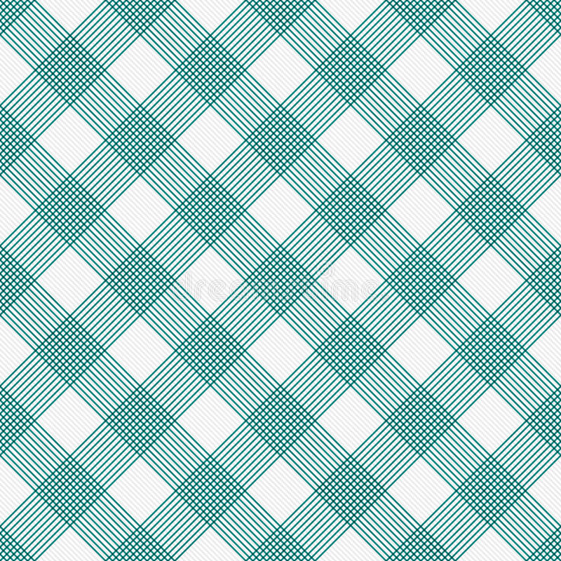 Teal and White Striped Gingham Tile Pattern Repeat Background stock illustration