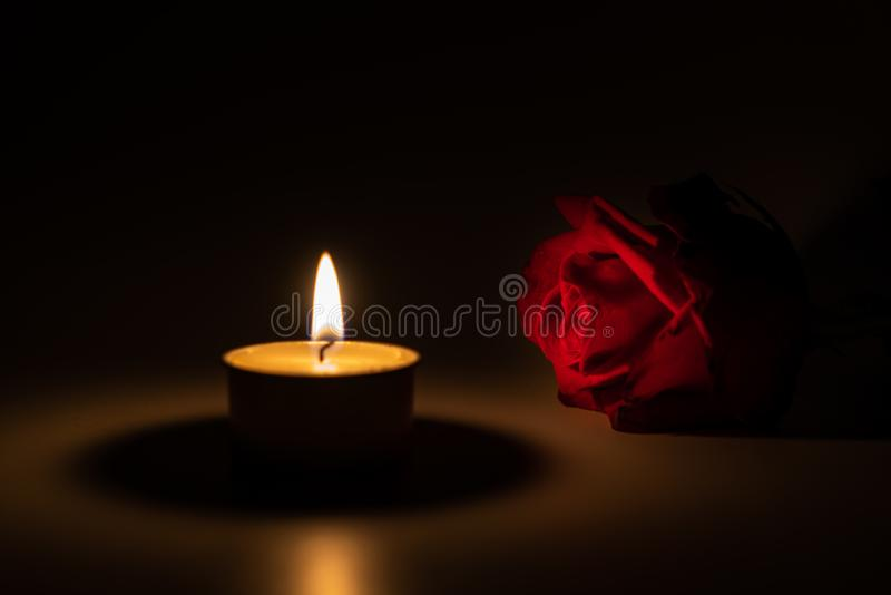 Tealight candle and red rose at midnight. Time royalty free stock image