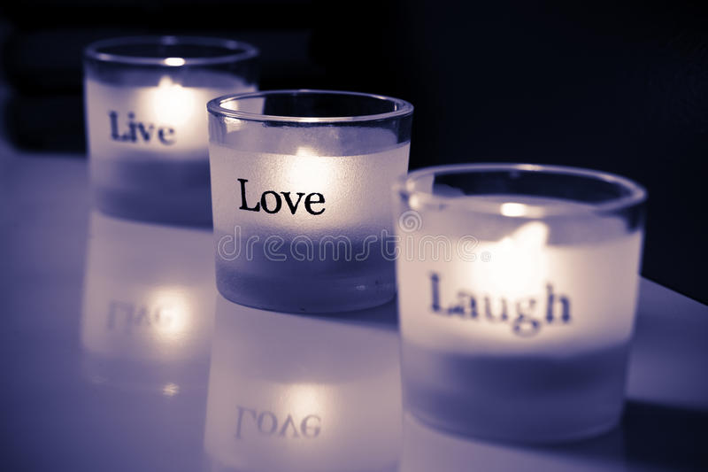 Tealights. Live-Love-Laugh tealights. ProPhoto RGB color space stock photos