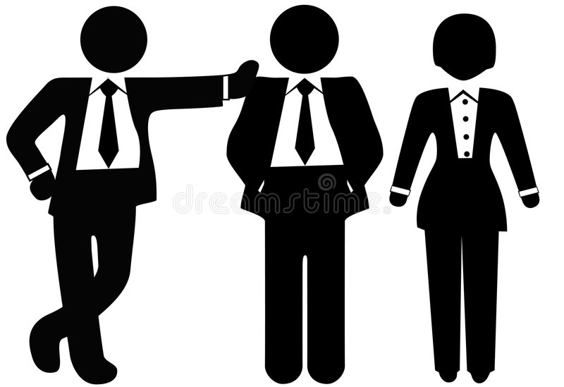 Team of 3 Business People in Suits. A team of 3 business people in suits, a group of a woman and two men stock illustration