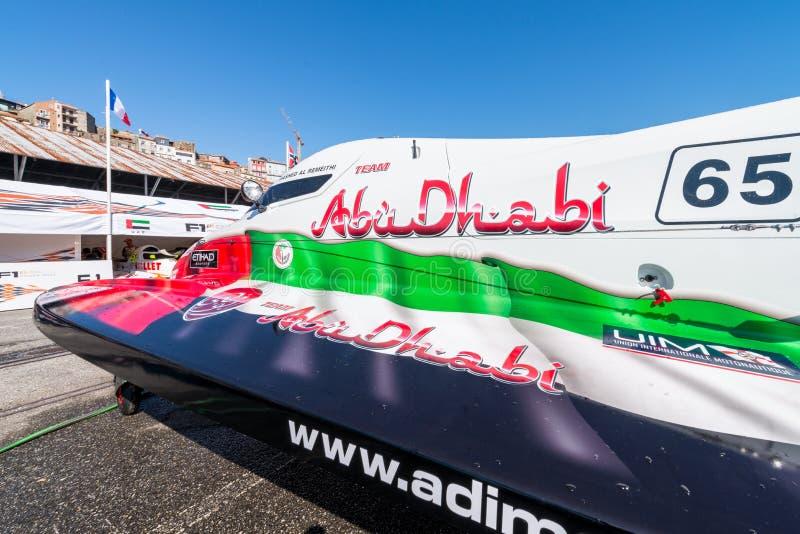 Team Abu Dhabi-bootvoorbereidingen stock foto's