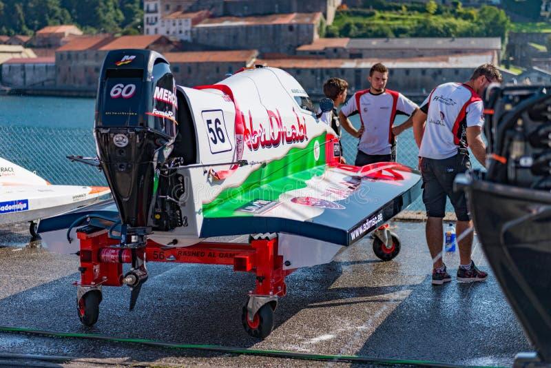 Team Abu Dhabi-bootvoorbereidingen stock afbeelding