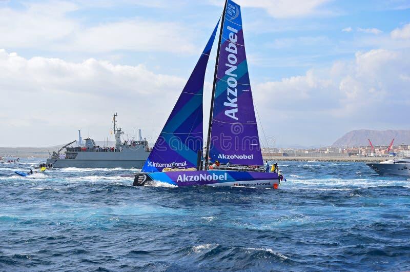 Team AkzoNobel Passes A Navy Ship Volvo Ocean Race Alicante stock images