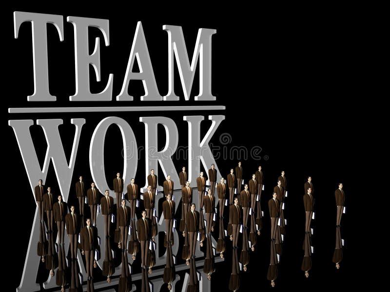 Team-Arbeit über Schwarzem. stock abbildung
