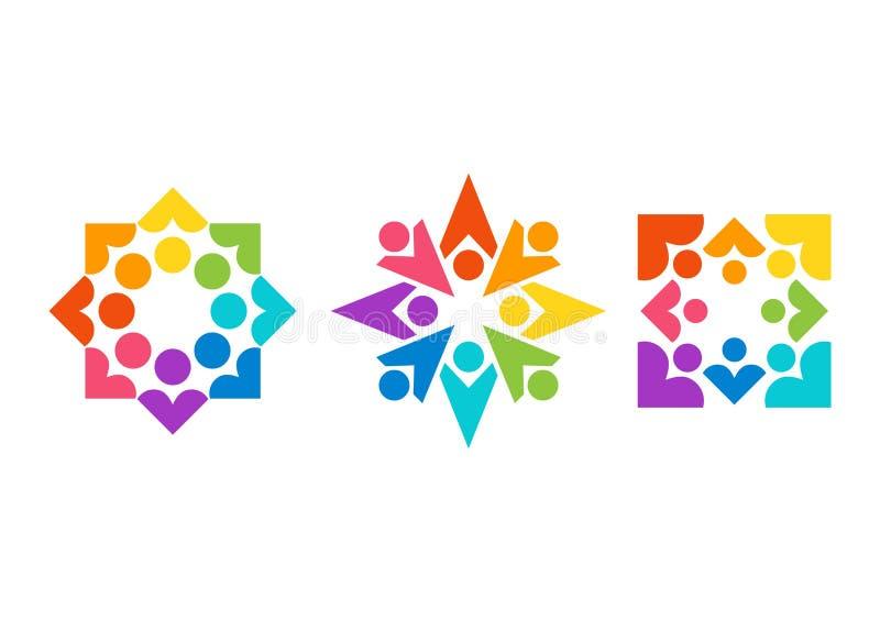 Team arbete, logoen, hälsa, utbildning, hjärtor, folk, omsorg, symbolet, uppsättning av vektorn för lagsymbolsdesigner stock illustrationer