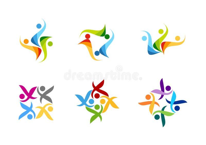 Team arbete, logoen, utbildning, folket, partnersymbolet, vektor för design för gruppsymbol royaltyfri illustrationer