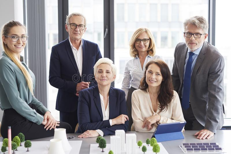 Team of architects during business meeting stock photo