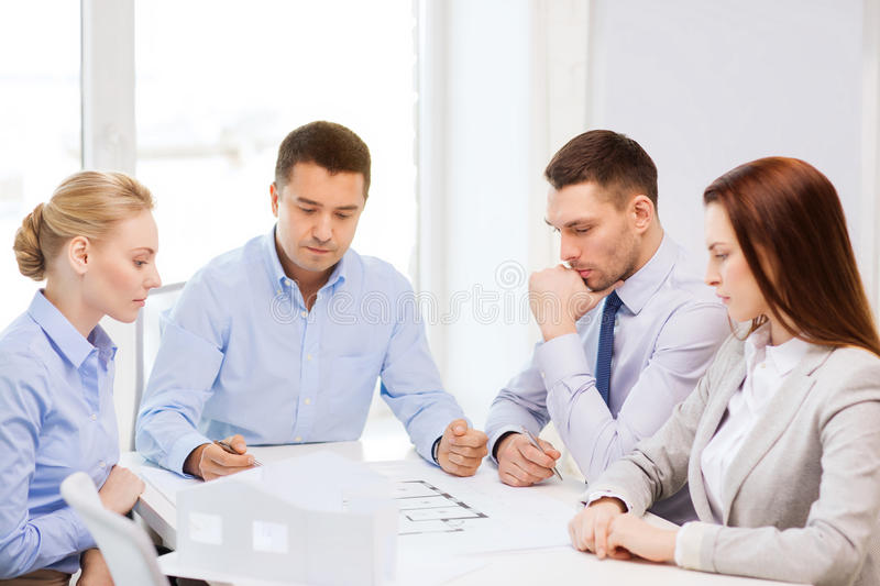 Team of architects and designers in office royalty free stock photo