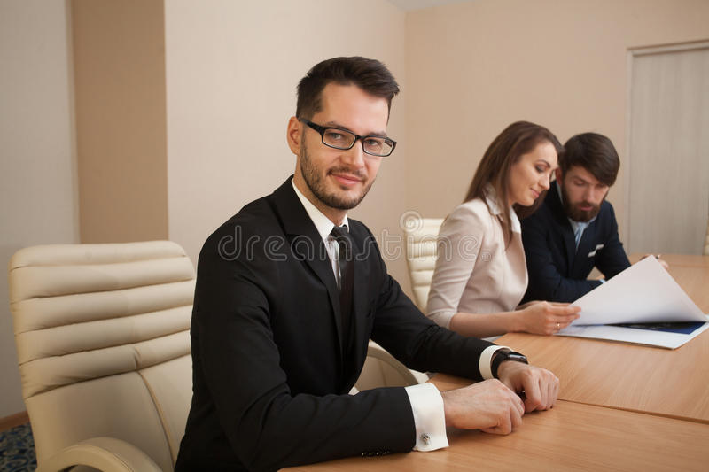 Team of architects meeting in office stock image