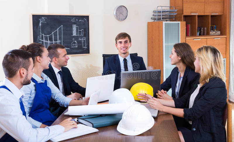 Team of architects working at office royalty free stock image