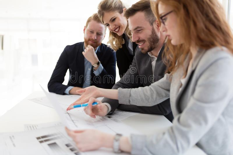 Team of architects working together on project stock photography