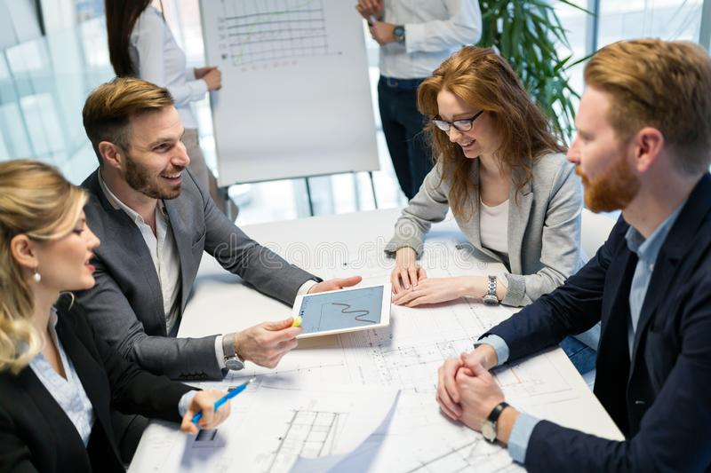 Team of architects working together on project royalty free stock image
