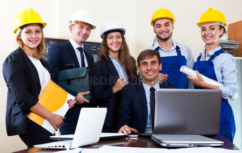 Team of architectural engineers stock images