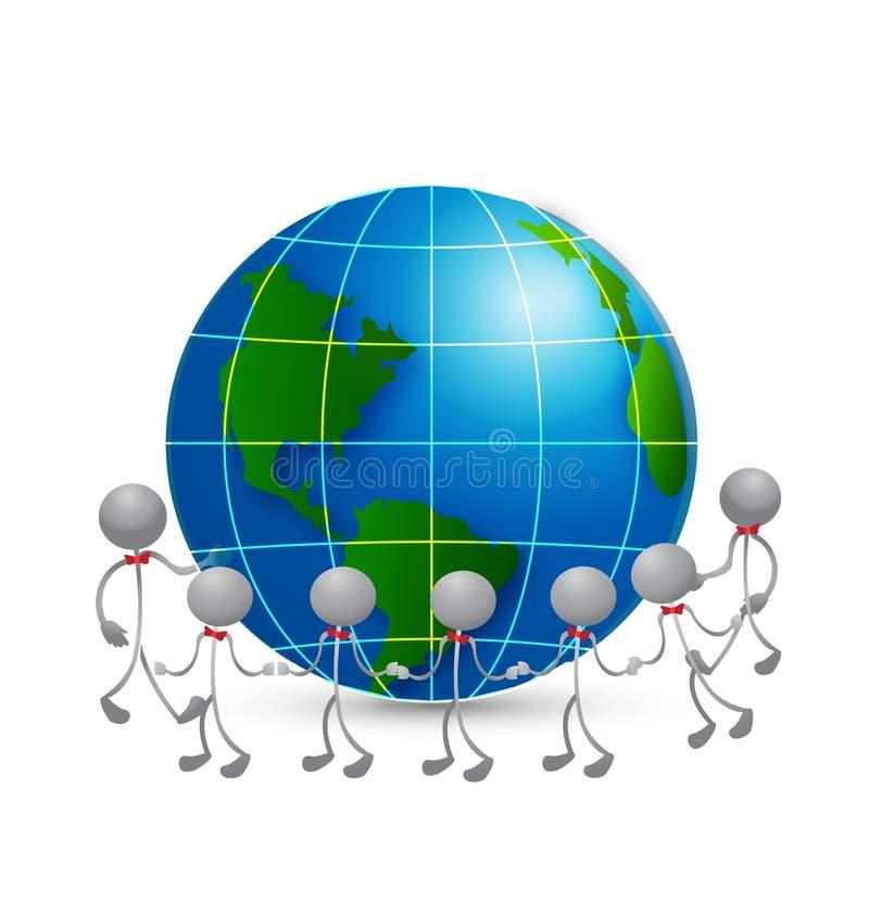 Teamwork around world logo. Team around world holding hands vector background royalty free illustration
