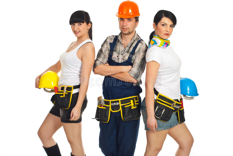 Download Team of attractive workers stock image. Image of constructor - 19108215