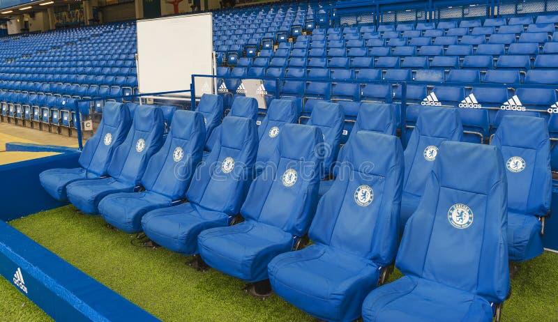 Team bench at Stamford Bridge royalty free stock image