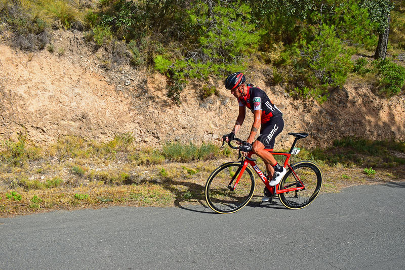 Alessandro De March,i Xorret De Cati La Vuelta España. The Team BMC rider at the summit of Xorret De Cati in the 2017 La Vuelta Espana bike race royalty free stock photos