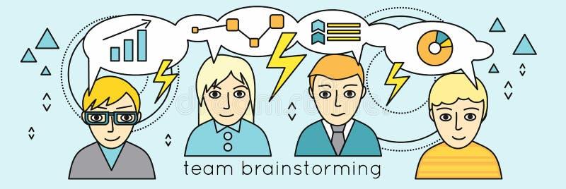 Team Brainstorming Vector Concept i plan design royaltyfri illustrationer