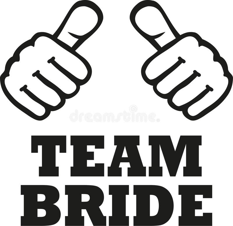 Team Bride com dois polegares ilustração royalty free