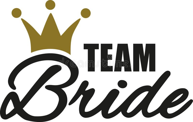 Team Bride with golden crown vector illustration