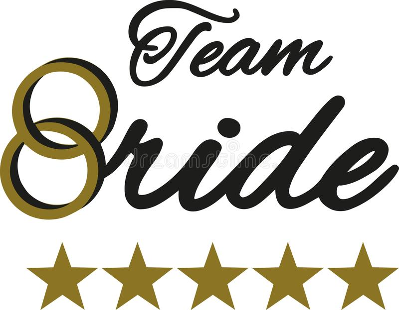 Team Bride with golden wedding rings royalty free illustration