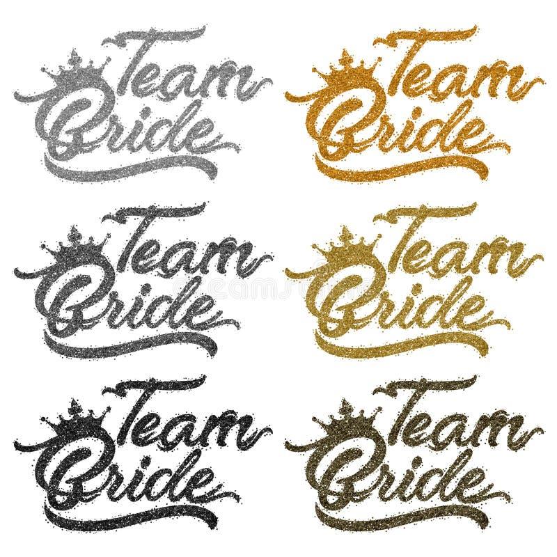 Team Bride text i silver och guldstoft stock illustrationer