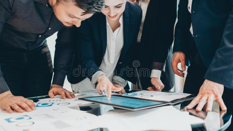 Team briefing business partners statistics report royalty free stock image