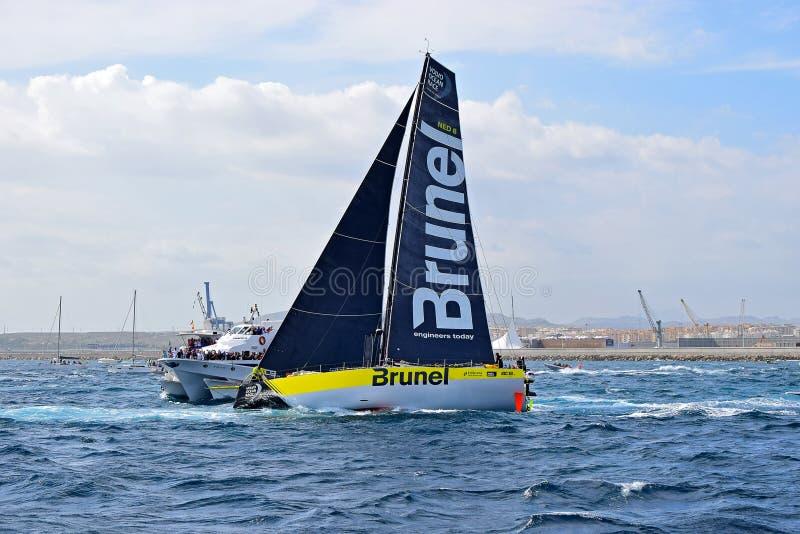 Team Brunel Close to Spectator Boats Volvo Ocean Race Alicante 2017 stock image